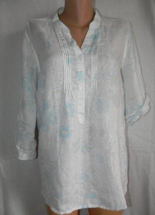 Блуза лен с нежным принтом