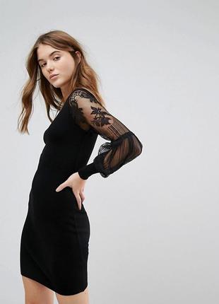 🌿 трикотажное платье-джемпер с кружевными рукавами от new look
