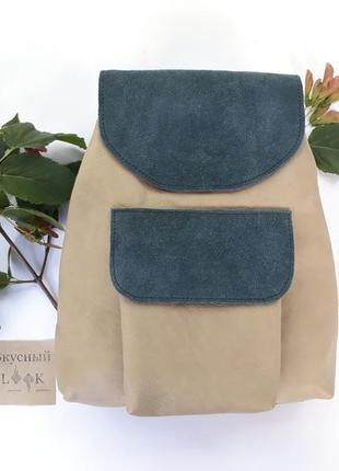 """Кожаный рюкзак """"мак"""" хаки, городской рюкзак, женский рюкзак"""
