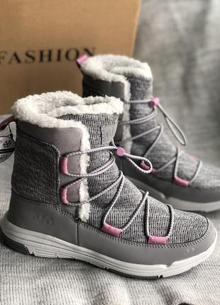 Светло серые дутики, водонепроницаемые зимние сапоги, ботинки бренд