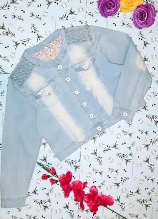 🎁1+1=3 эксклюзивная джинсовая куртка джинсовка с переплетами simply be, размер 50 - 52