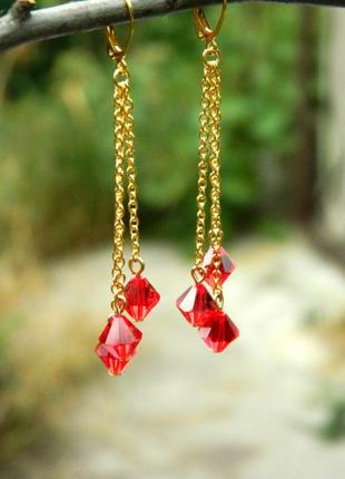 Серьги с красными кристаллами swarovski