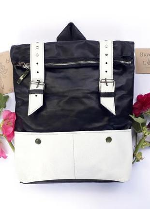 """Вместительный кожаный рюкзак """"ажгон"""" (черно-белый)"""