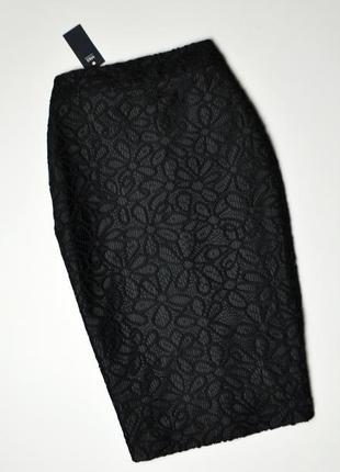 Роскошная черная юбка в кружево миди