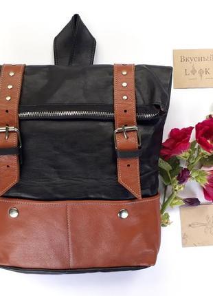 """Вместительный кожаный рюкзак """"ажгон"""" (черно-коричневый)"""