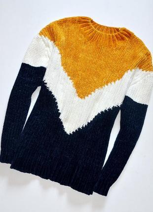 Primark. мягкий и теплый свитер с стильным геометрическим принтом 14-16\l-xl
