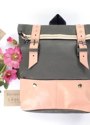 """Вместительный кожаный рюкзак """"ажгон"""" (серый с розовым)"""