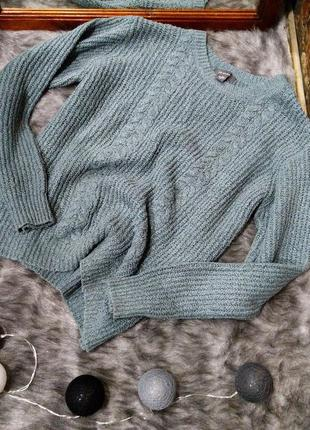 Уютный свитер пуловер джемпер из вязаного трикотажа с косами primark