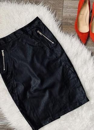 Кожаная юбка карандаш ( кожзам)