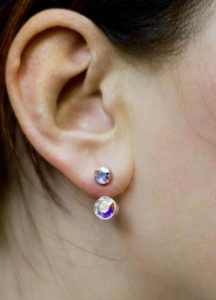Серьги стразы джекеты сережки кристаллы камни украшение бижутерия swarovski сваровски