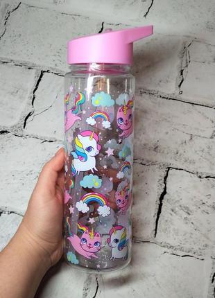 Бутылка пластиковая с трубочкой, 700 мл