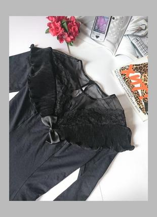 Стильна вінтажна блуза/боді з мереживом, рюшами m&s, на р. s/m