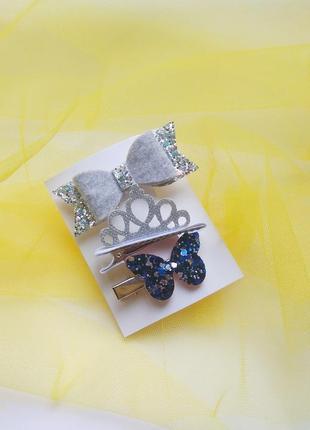 Бантик, корона, нбор заколок, заколки, резинки, украшения для волос, подарок