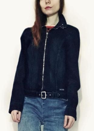Куртка джинсовая на молнии не приталена пиджак джинсовый синий