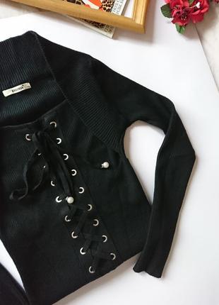 Стильний теплий облягаючий джемпер/кофточка в рубчик з шнурівкою, на р. s/m