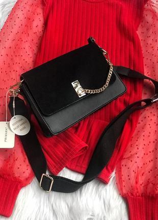 Новая актуальная трендовая чёрная сумка с поясом, сумка через плечо от primark