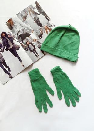 Зеленый комплект шапка и перчатки benetton