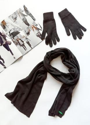 Коричневый комплект перчатки и шарфик benetton