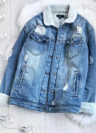 Актуальная трендовая утеплённая джинсовая куртка, джинсовка, шерпа missguided