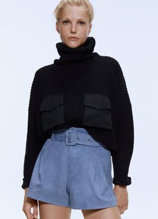 Zara новая коллекция! шорты под замш небесно-голубого цвета