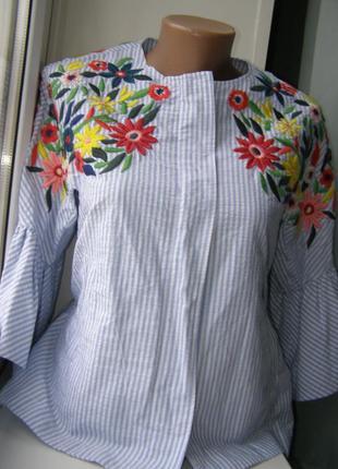 Zara блуза пиджак полоска вышивка xs-s-размер