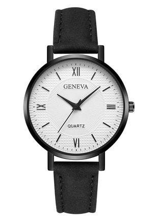 Наручные женские часы с черным ремешком код 530