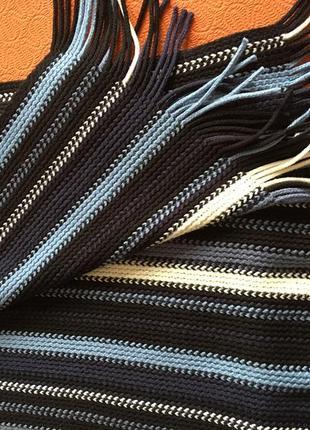 Качественный трикотажный шарф в полоску, яркий, удобный, 25х167 см с кистями, торг