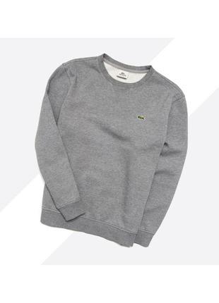 Lacoste xl (7) / мужской серый базовый свитшот с лого на груди