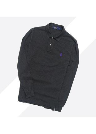 Polo ralph lauren m  / тёмно-серый лонгслив поло с вышитым лого на груди