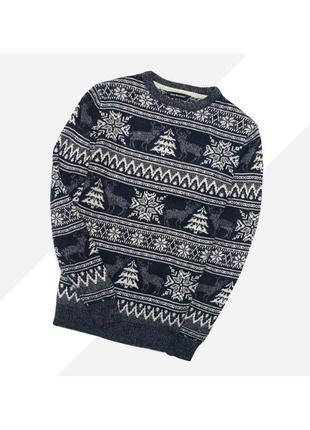 Cws xs  / мужской тёплый свитер в сине-серый узор с оленями в орнамент