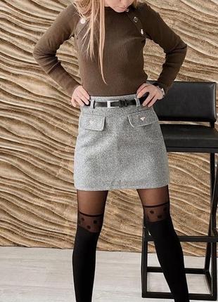 Теплая кашемировая юбка