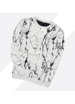 H&m l / новый белый текстурный свитшот в абстрактный узор