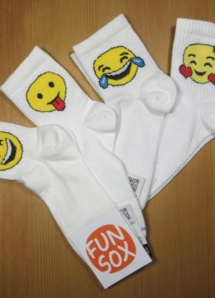 """Крутой набор носков белого цвета с принтом """"смайл"""""""