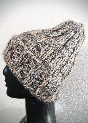 Теплая шапка меланж тыковка