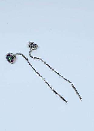 Серебряные серьги протяжки