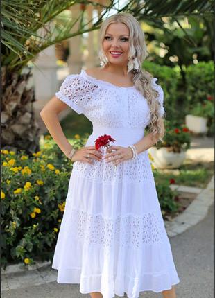 Белое платье-сарафан по плечам из хлопка indiano, fresh-cotton 646 f,  m l xl 2xl