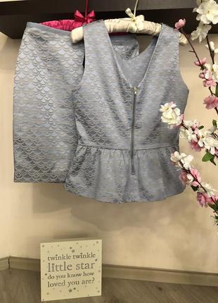 Элегантный женский костюм, костюм юбка блуза, юбка прямая, блуза баска