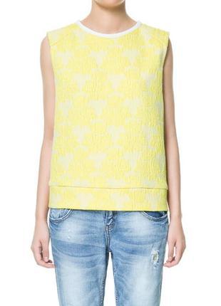 Zara trafaluc топ майка в жаккардовые жёлтые цветы