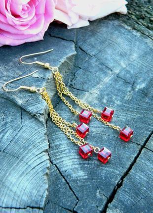Серьги с кристаллами swarovski красный квадрат