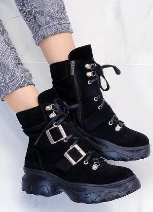 Новые женские демисезонные замшевые черные ботинки