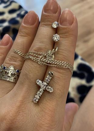 Серебро, серебряный гарнитур набор серьги-гвоздики, крестик и цепочка