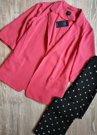 Шикарный фактурный пиджак, блейзер батал m&s размер 24