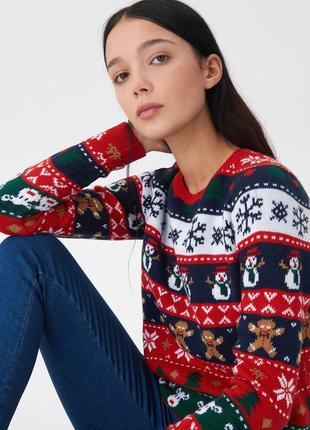 Акция! очень стильный свитер с зимним узором, house