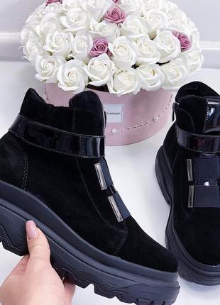 Новые шикарные женские черные замшевые демисезонные  ботинки