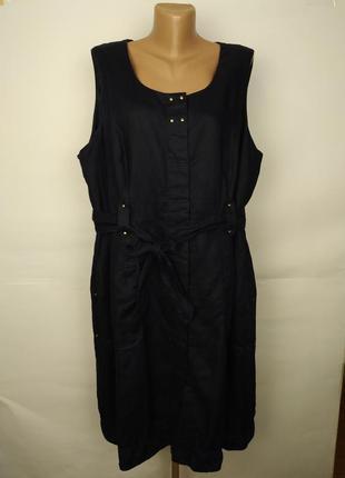 Платье льняное натуральное красивое синее большой размер marks&spencer uk 22/50/4xl