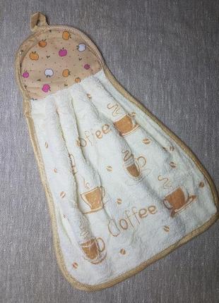 Кухонная салфетка с рисунком и петелькой для подвешивания бежевая