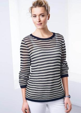 Ажурный вязаный свитер в полоску tcm tchibo1 фото