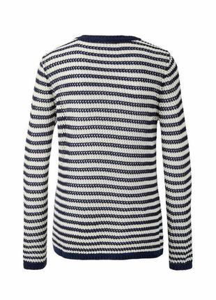 Ажурный вязаный свитер в полоску tcm tchibo4 фото