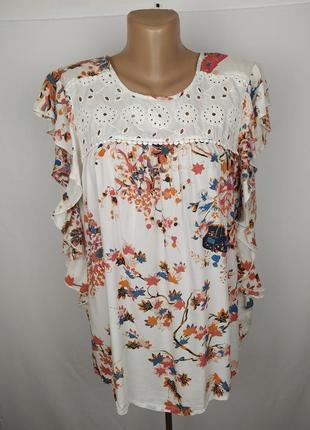 Блуза красивая в принт с рюшами marks&spencer uk 16/44/xl