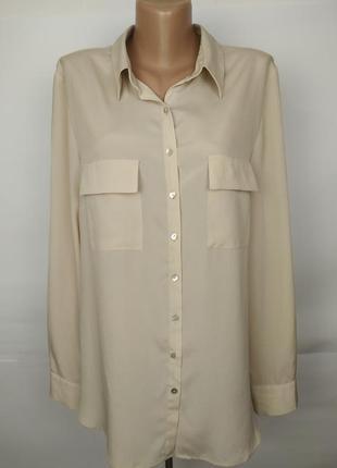 Блуза красивая кремовая шифоновая легкая marks&spencer uk 16/44/xl